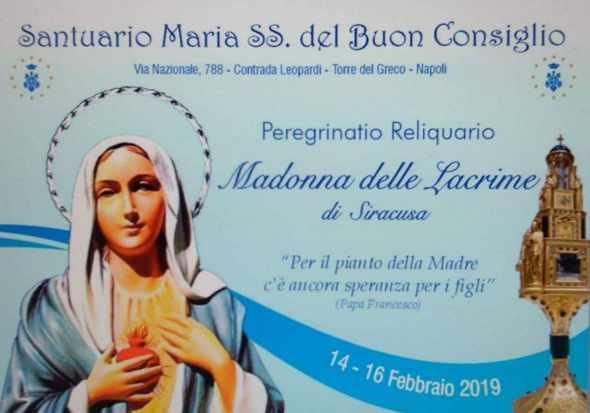 """""""Peregrinatio Reliquiario"""" della Madonna delle Lacrime di Siracusa a Torre del Greco"""