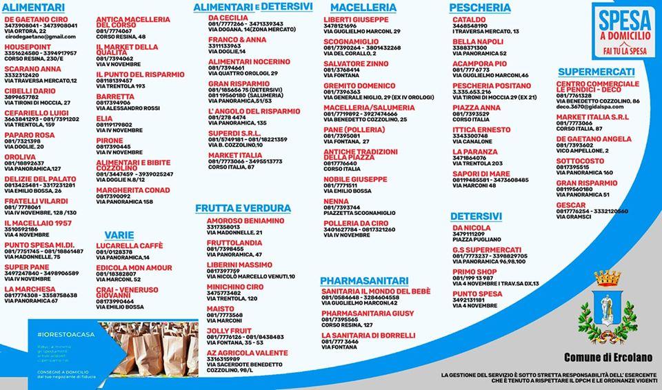 Coronavirus Ercolano – Ecco l'elenco delle attività che fanno consegne a domicilio