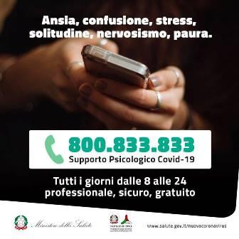 Da oggi operativo il numero verde di supporto psicologico per emergenza Covid-19