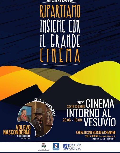 """San Giorgio. """"Cinema intorno al Vesuvio"""". Riparte la kermesse  dal 26 giugno al 15 agosto 2021 🗓"""